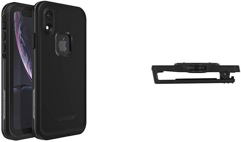LifeProof FRÉÌ Series Waterproof Case for iPhone XR - Retail Packaging - Asphalt (Black/Dark Grey) Bundle with LIFEACTIV Belt Clip with QUICKMOUNT