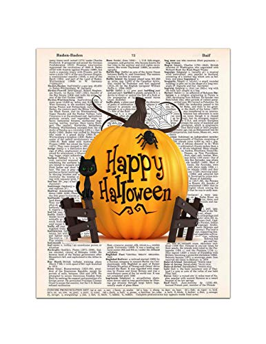Happy Halloween - Pumpkin, Cat, Spider - Dictionary Page Art Print, 8x11 UNFRAMED -
