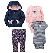 Simple Joys by Carter's Baby Girls 4-Piece Little Jacket Set, Navy/Pink Floral, 0-3 Months