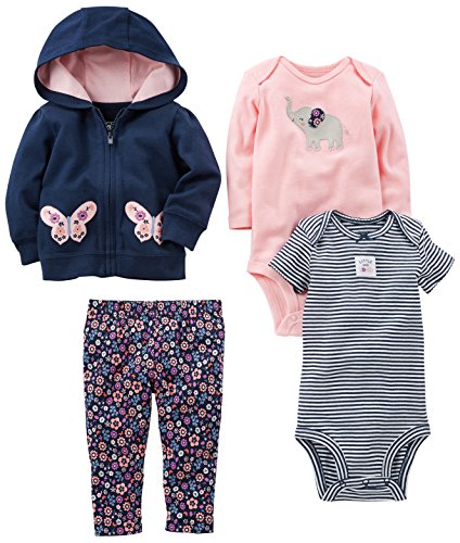 (Simple Joys by Carter's Baby Girls 4-Piece Little Jacket Set, Navy/Pink Floral, 24 Months)