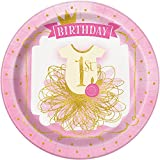 Unique Party  58155  - 23cm Pink and Gold Girls 1st Birthday Party Plates, Pack of 8