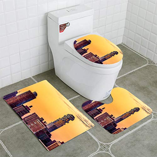 BEISISS Bathroom Mat Sets 4 Piece-Non-Slip - Short Plush Tribeca Downtown Manhattan Sunset Orange Golden Hour Bathroom Rug + Contour pad + lid Toilet seat+Toilet seat Cushion