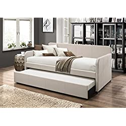Home Design Tiara Upholstered Daybed With Trundle (Beige)