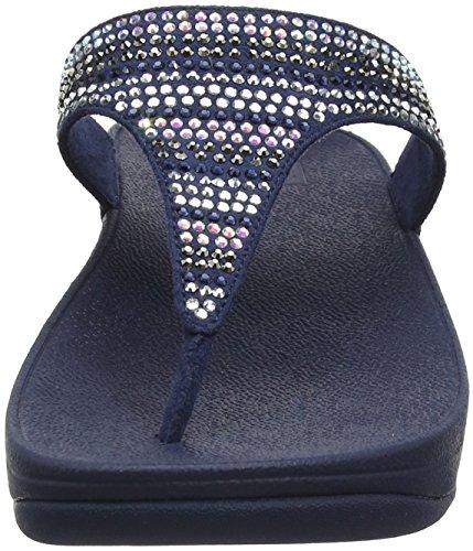 Sandali Fitflop Damen Strobe Luxe Toe-thong Blu Peeptoe (blu Notte)