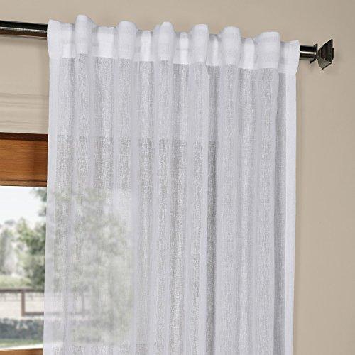SHCH-SS07161-84 Solid Faux Linen Sheer Curtain,Aspen White,50 X 84
