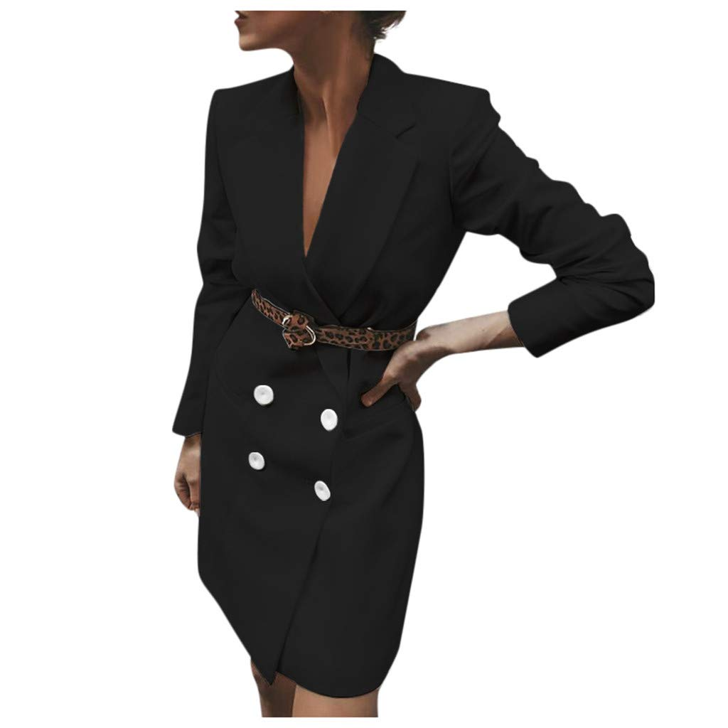 Willow S Women's Solid Color Suit Dresses for Work Lapel Long Sleeve Button Belt Bag Hip Work Dress Black White Yellow by Willow S