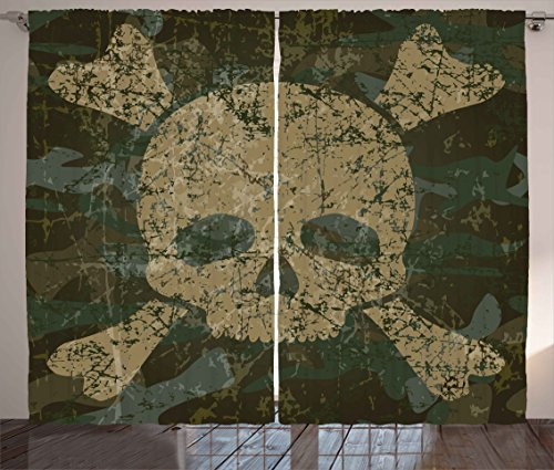 "Ambesonne Camo Curtains, Abstract Texture with Skull and Crossbones Pattern Aged Rusty Grunge Style, Living Room Bedroom Window Drapes 2 Panel Set, 108"" X 84"", Green Cream"