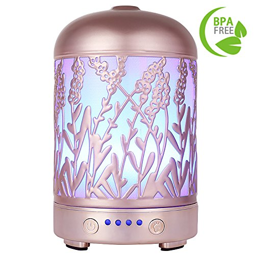 Aromatherapy Essential Oil Diffuser COOSA Rose Gold 100ml Ultrasonic Aroma Diffuser Cool Mist Humidifier with 4 Time Setting and 7 LED Lights Changing Waterless Auto Shut-off for Home Office Yoga (200 Ml Rose)