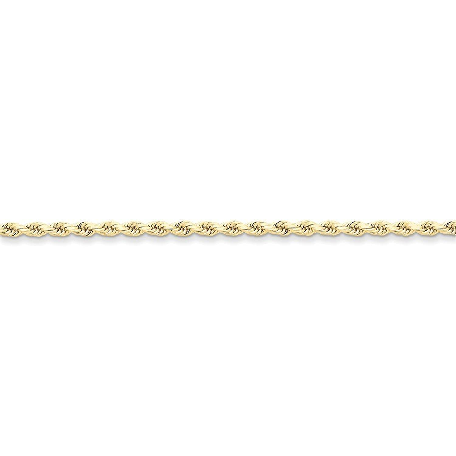 10K Yellow Gold 2.75mm Faceted-Cut Rope Chain Anklet, 9""