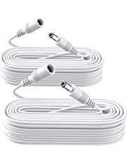 2 Pack Power Extension Cable,2PCS DC 12V Power Adapter Extension Cord, 10M 33ft 2.1mm x 5.5mm, Compatible with 12V DC Adapter Power Supply or Wall Charger for CCTV Security Camera IP Camera(2Pack, White)