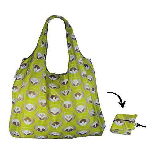 Re-Uz Lifestyle Shopper XL Large Reusable Folding Shopping Grocery Bag - Flower Power Olive