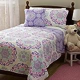 Design Studio Vivian 4-Piece Quilt Set Medallion, Bohemian Cotton, Reversible Bedding, Teen, Girls, Twin, Purple