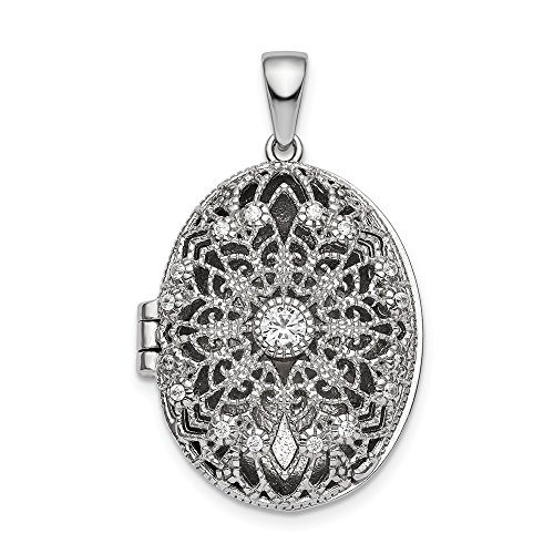(925 Sterling Silver Cubic Zirconia Cz Oval Filigree Photo Pendant Charm Locket Chain Necklace That Holds Pictures Fine Jewelry Gifts For Women For Her)