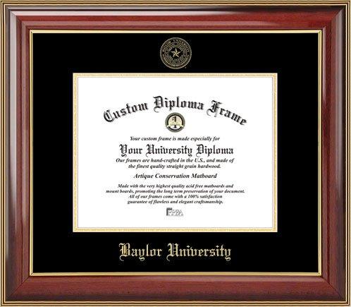 Laminated Visuals Baylor University Bears - Embossed Seal - Mahogany Gold Trim - Diploma Frame