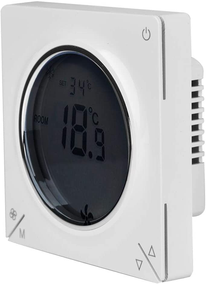 Air Conditioner Thermostat LCD Air Conditioning Fan Coil Central Thermostat Cooling Heating Room Temperature Controller with Super Large LCD Screen Adopts Microcomputer Control Technology