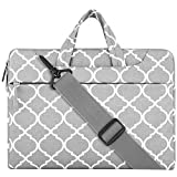 MOSISO Laptop Shoulder Bag Compatible 13-13.3 Inch MacBook Pro, MacBook Air, Notebook, Canvas Geometric Pattern Protective Carrying Handbag Briefcase Sleeve Case Cover, Gray Quatrefoil