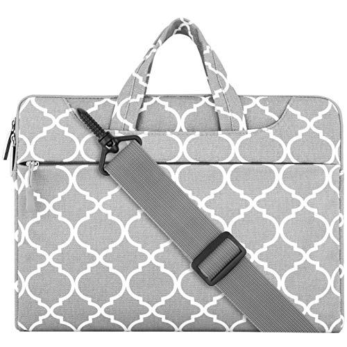 MOSISO Laptop Shoulder Bag Compatible 13-13.3 Inch MacBook Pro, MacBook Air, Notebook, Canvas Geometric Pattern Protective Carrying Handbag Briefcase Sleeve Case Cover, Gray Quatrefoil