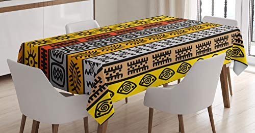 - Ambesonne Decor Tablecloth, Africa Art Style Motifs with Hand Drawn Borders Pattern Artwork Design Print, Dining Room Kitchen Rectangular Table Cover, 60 W X 84 L Inches, Black Orange