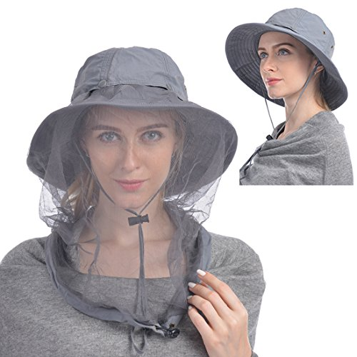 UShake Mosquito Head Net Hat, Safari Hat Sun