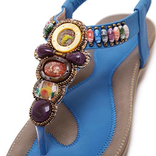 Aalardom Femmes Pull-on Split-toe Talons Bas Pu Sandales Solides Bleu-2g