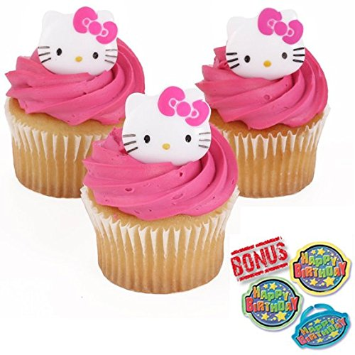 Hello Kitty Whimsical Cupcake Toppers and Bonus Birthday Ring - 25 pieces (Kitty Cupcake Toppers Hello)