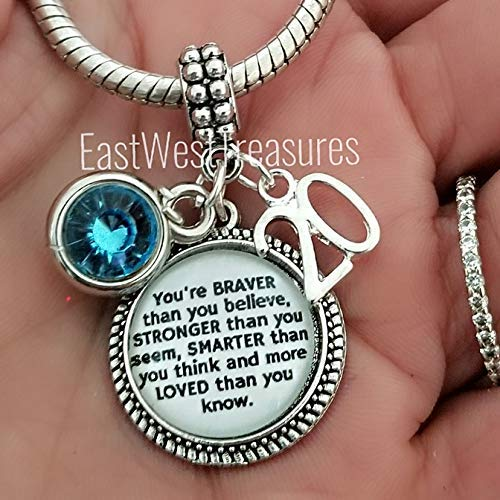 (Personalized 20th birthday charm bracelet necklace-Custom Jewelry gifts for 20 year old)