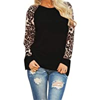 Fenido Women Casual O-Neck Leopard Patchwork T-Shirt Knits & Tees