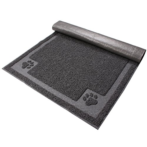 Petroad Cat Litter Mat, Washable Non Slip Animal Mat for Floors Protection,PVC Material,Gray,XL