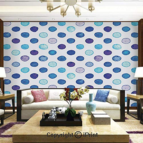 (Lionpapa_mural Nature Wall Photo Decoration Removable & Reusable Wallpaper,Vintage Polka Dots Motif with Different Shades on Blue Tones Soft Funky Artwork,Home Decor - 66x96 inches)