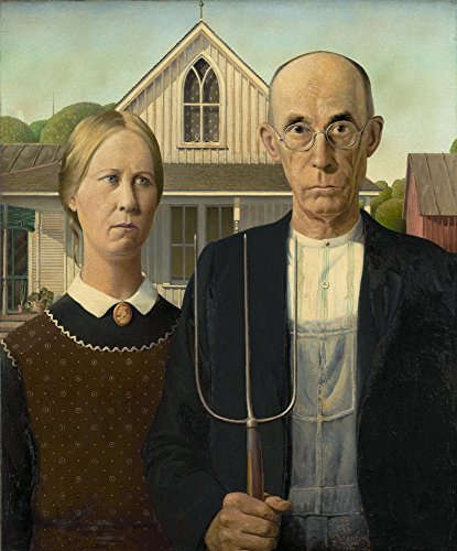Grant Wood Giclee Canvas Print Paintings Poster Reproduction (American Gothic) (Grant Wood American Gothic Painting)