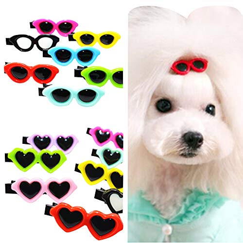 Queenmore 30pcs Pet Dog Hair Clip Accessories, Fashion Sunglasses Patterns Doggy Dogs Cats Barrettes Hair Grooming Products