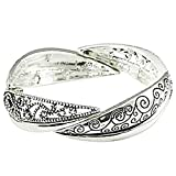 Bracelet - Nwt Filigree Cut Out Silver Vine Etched Stretch Bangle Bracelet