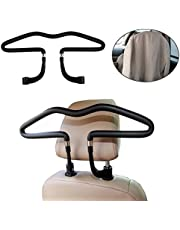 Auto Kleiderbügel, Autokleiderbügel für Kopfstütze, Kopfstützen-Kleiderbügel, hochwertige Ausführung Chrom Kleiderbügel, 44 x 11 cm, Schwarz