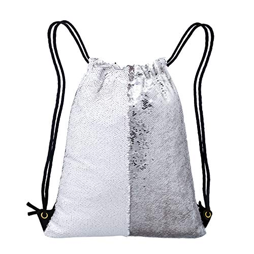 - Neasyth Mermaid Sequins Drawstring Backpack, Reversible Glittering Dance Drawstring Bag Yoga Gym Gift For Girls Women kids (D-Sliver/White)