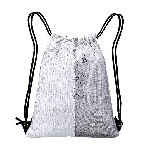 Neasyth Mermaid Sequins Drawstring Backpack, Reversible Glittering Dance Drawstring Bag Yoga Gym Gift For Girls Women kids (D-Sliver/White)
