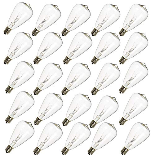 Monkeydg 25-Pack ST35  Light Bulbs Replacement Edison Clear Bulbs -5 Watts C7/E12 Screw Base for Indoor/Outdoor Patio String Lights (Christmas Allen Lights)