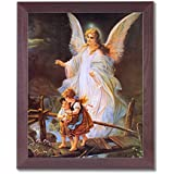 Guardian Angel With Children On Bridge Religious Picture Framed Art Print