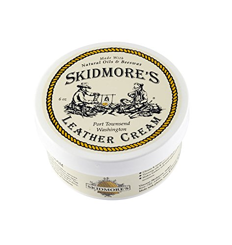 Skidmore's Original Leather Cream | 100% Natural Non Toxic Water Repellent Formula is a Cleaner and Conditioner | Repair a Saddle, Riding Boots, Jacket, Gloves, Chaps, Tack, Belt,Faux Leather | 6 Oz by Skidmore's