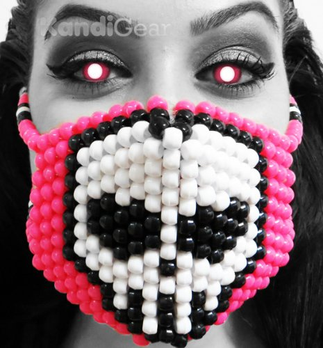 Kandi Gear - White Skull Pink Kandi Mask Surgical, Rave Wear, Halloween (Halloween Rave)