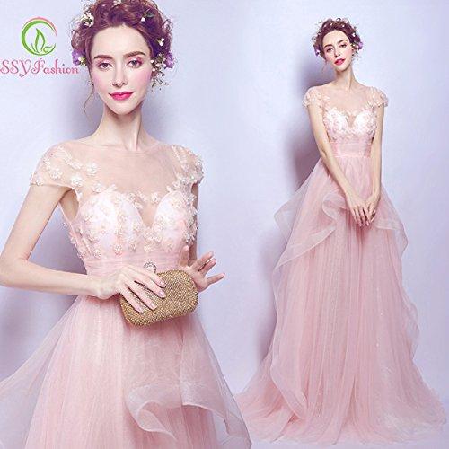 Bijoux Robe De Soirée Banquet Cocktail Longue Sun Robe Rose Partie La Transparente Cristal Fleurs De Goddess 2 Mariée 4 YPwAq1I