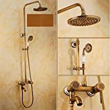 GOWE Wall Mount Brass & Ceramic Bath Shower Set Faucet Single Handle + Handshower + 8'' Showerhead + Swivel Bathtub Spout