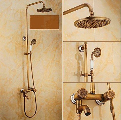 GOWE Wall Mount Brass & Ceramic Bath Shower Set Faucet Single Handle + Handshower + 8
