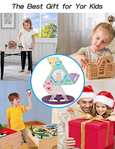 HLAOLA Magnetic Blocks 133PCS Upgrade Magnetic Building Blocks Magnetic Tiles Educational Toys Tiles Set for Kids Magnet Stacking Toys for Kids Children Age 3 4 5 6 7 Year Old (3D Macaron Colors)