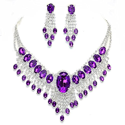 - Affordable Wedding Jewelry Purple Clear Rhinestone Cascade Earrings Silver Necklace Set