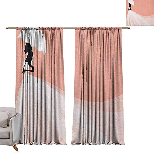 berrly Drapes for Living Room Bridal Shower,Bride in Abstract Romantic Wedding Dress with Umbrella Artwork Print, Salmon and White W96 x L96 Tie Up Printed Blackout Curtain ()