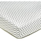 American Baby Company 100-Percent Cotton Percale Fitted Crib Sheet, Zigzag Grey