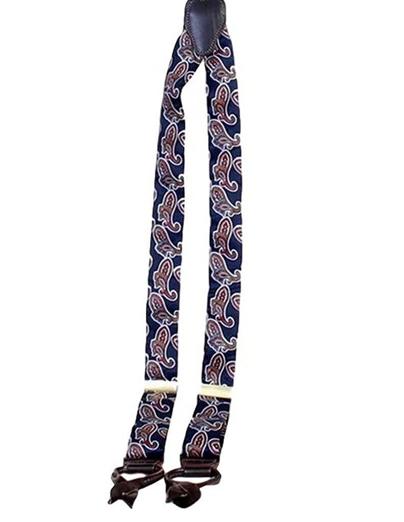 Scully Western Suspenders Womens Silk Paisley Leather Navy RW525SP