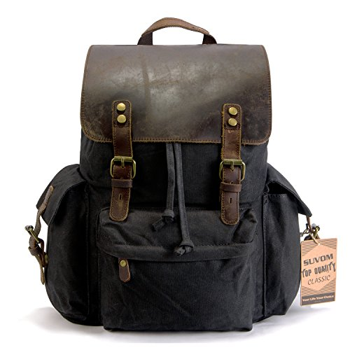 "SUVOM Vintage Canvas Leather Laptop Backpack for Men School Bag 15.6"" Waterproof Travel Rucksack (Black)"
