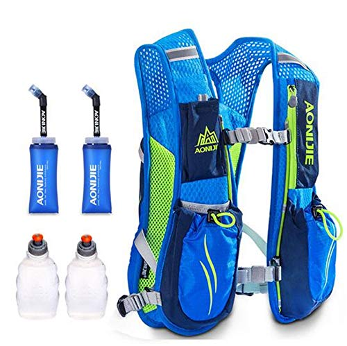 POJNGSN Hydration Nylon 5.5L Outdoor Running Bags Hiking Vest Cycling Backpack Blue 1 by POJNGSN (Image #2)