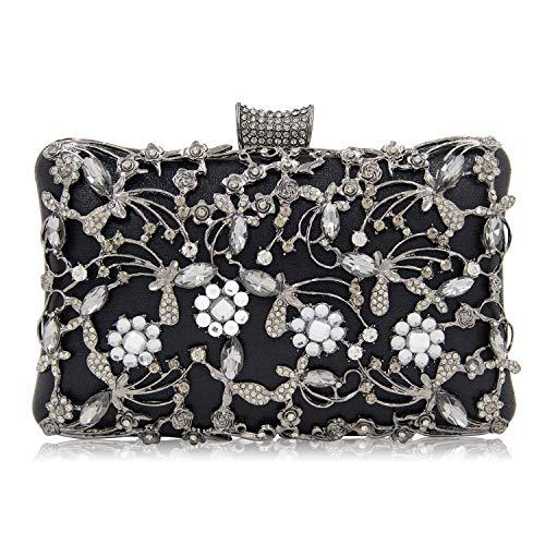 LUI SUI Women Luxury Crystal Beaded Evening Bag Rhinestone Wedding Party Clutch Purse
